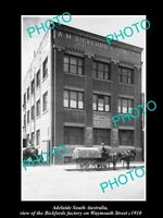 OLD HISTORIC PHOTO OF ADELAIDE SA, THE BICKFORDS CHEMIST FACTORY c1910