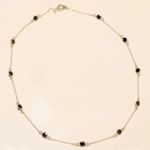 5.70 Gm 925 Sterling Silver Wonderful Black C.Z. Cut Stone Fine Necklace M-1322