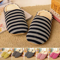 Cotton Shoes Slippers Regular Size Stripe Print Women Men Warm Slip-On Indoor