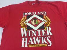 Portland Winterhawks T-Shirt VTG Mens L/XL Western Hockey League 90s Oregon PDX
