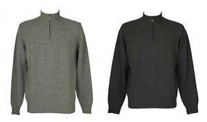Maglia pullover uomo manica lunga serafino mezza zip pura lana merino extrafine