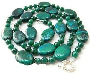 Natural 13x18mm Oval & 6mm Round Green Azurite Gemstone Beads Necklace 18-48''