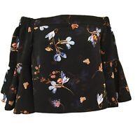 Topshop Ella Off Shoulder Top Size 4 Flutter 3/4 Sleeve Black Floral Blouse