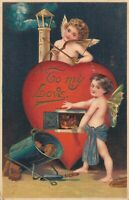 Valentine To My Love Vintage Embossed Postcard 03.75