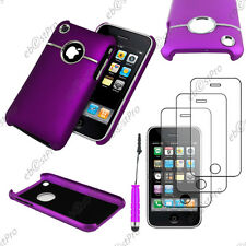 Housse Coque Silver-Line chromé Violet Apple iPhone 3GS 3G+Mini Stylet+3 Films