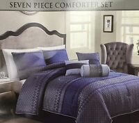 Lifestyles Home 7-piece Queen Size Bed Comforter Set Bedroom Bedding Blue & Gray