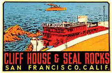 San Francisco  CA   Cliff House   Vintage Looking 1950's    Travel Decal Sticker