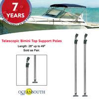 Telescopic Bimini Top Support Poles Aluminium 2' - 4' w/ mounts fits most frames