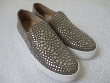 $129 VINCE CAMUTO KINDRA FOXY/SILVER SUEDE LEATHER LOAFERS SIZE 9 1/2 M  - NEW