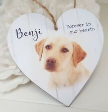 Personalised photo hanging wooden heart pet dog memorial sign plaque gift