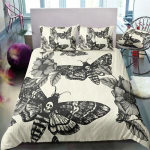 Unique 3D Butterfly Skull Bedding Set Promotion Duvet Cover Set Twin/Full/King