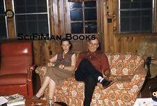 KODACHROME Red Border 35mm Slide Handsome Man Pretty Woman Tinkertoy Sofa 1950s!