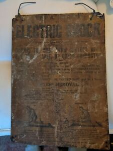 Rare 1930s antique tin metal electric shock electrocution treatment medical sign