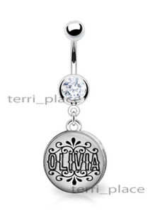 """Your Name Custom 14ga Belly Ring Navel Piercings CZ Gem & Personalized 3/8"""" 316L"""