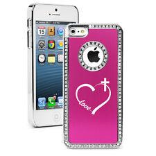 For iPhone 4 5 5s 5c 6 6s Plus Rhinestone Bling Case Love Heart Cross Christian