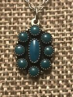 """VINTAGE ESTATE SOUTHWESTERN STERLING TURQUOISE NECKLACE WITH 925 CHAIN 16"""""""