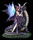 Elfen Figur - Dracana mit großem Drachen - Fantasy Fee Drachenelfe Dekostatue