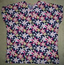 COMFY COTTON Uniform Scrub TOP Womens L Large V-Neck Bright Pink Floral SS