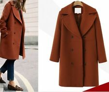 European Style Lapel Double Breasted Solid Coat - Red