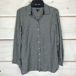 Talbots Collared Plaid Button-Up Long Sleeve Womens Large Multicolor Shirt Top