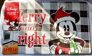 """Disney Mickey Mouse Merry & Bright Holiday Anti Fatigue Kitchen Mat 18""""X30"""" New"""