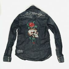 ED HARDY denim BEJEWELED Button down SKULL ROSE Women's S long sleeve