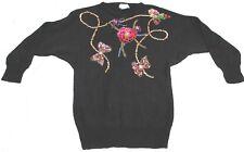Victoria Jones Holiday  Black Sequin Flower Sweater size M Medium dolman Sleeves