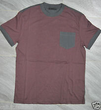 Authentic Mens Prada Maroon & Grey Two Tone Cotton Jersey Crew Neck T-Shirt M