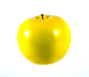 Artificial Golden Delicious Apple Large - Plastic Fruit Round Yellow Apples Fake