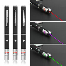 3 Pieces Green + Purple + Red Laser Pointer Pen Light Beam UK Seller