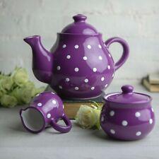 Handmade Purple and WhitePolka Dot Ceramic Large Teapot Set, Pottery Tea Set