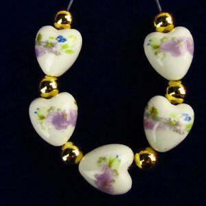 5Pcs/Set White Ceramics Purple Flower Heart Pendant Bead 12x11x8mm R55869