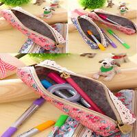 Hot  Flower Floral Lace Pencil Pen Case Cosmetic Makeup Bag Zipper Pouch