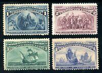 USAstamps Unused FVF US 1893 Columbian Expo Scott 230, 231, 232, 233 OG MH