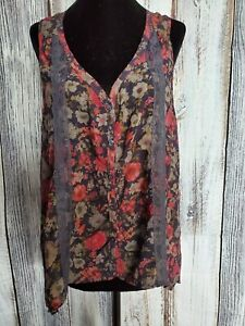 Love Squared Lace & Floral Boho Chic Sleeveless Blouse Tunic Sheer Large EUC