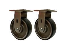 Set Of 2 6 8 Black Polyurethane On Aluminum Wheels Rigid Swivel Brake