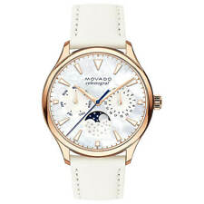 Movado Women's Watch Heritage Moon Phase MOP Dial White Leather Strap 3650073