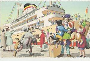 Signed Alfred Mainzer Cat Postcard,#4935,Cats at Ship- Bon Voyage,Belgium,1950s