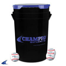 Champro Sports 30 Full Grain Leather Cover Baseballs in 5 Gal. Bucket Padded Lid