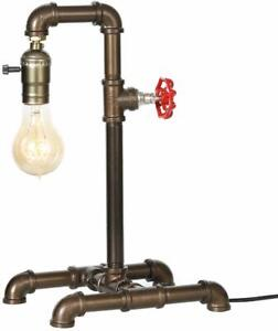 Steampunk Industrial Reading Table Lamp with Switch Water Pipe Desk Light Office