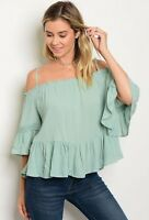 Women's Sage Off Shoulder Boho Peasant Top Blouse Shirt Casual Summer Relaxed