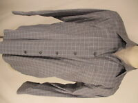 Zanella Floyd Mens Grey Plaid Long Sleeve Cotton Shirt L Italy Made
