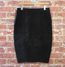NEW Acne 36 Roni Black Suede Leather Pencil Skirt Gold Zippers