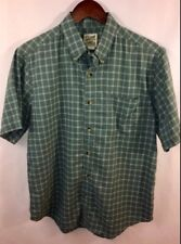 TravelSmith Men's M Shirt Green S/S Button Cotton Polyester Camp Hiking Casual