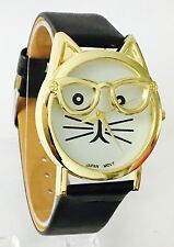BRAND NEW Ladies 3D Cat in Glasses leather strap Watch Uk Seller