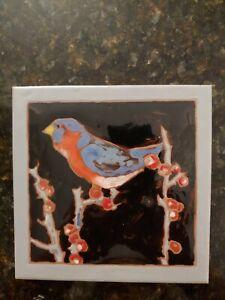 "Blue Bird on Red berry branch black Sky Signed Art Tile Elaine Cain 6"" X 6"""