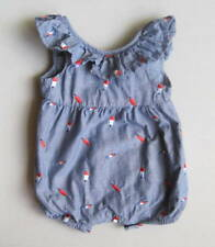 CAT & JACK Baby Girls 6 9 Mo Blue Chambray Embroidered Popsicles Romper Ruffled