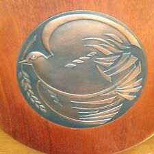 Japanese Bronze Walnut Plaque Medal Peace Dove Bird & Olive Branch Japan Copper