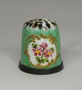Antique Handpainted Porcelain And Enamel Thimble Bilston ? Flowers
