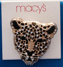 Macys Gold Tone with Faux Diamonds Lion Head Pendant or Pin